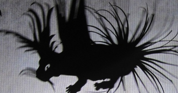 "Porcupine shadow puppet created by Studio Reynard for ""Fox vs. Kingdom"""